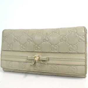 Auth Gucci Guccissima Khaki Long Leather #1475G13